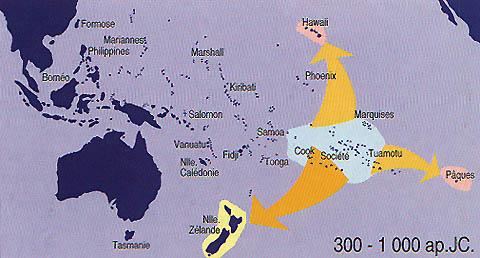 naissance du triangle polynésien avec à ses extrémités les îles Hawaii, la Nouvelle-Zélande (Aotearoa) et l'île de Pâques (Rapa nui).